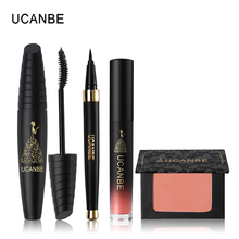 UCANBE Brand 4pcs Makeup Set Black Eyeliner Mascara Waterproof Lip Gloss Liquid Lipstick Blush Palette Blusher Contour Powder(China)