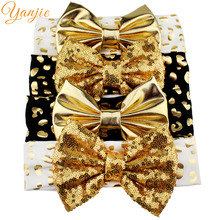 1PC Glitter Leopard Elastic Headband For Girls 2017 Big Sequin Bow Headband Hair Accessories Kids Gold Metallic Bow Hair Band(China)