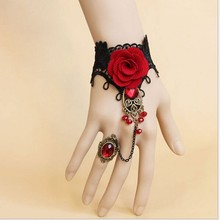2016 Handmade Fashion Retro Black Lace Vampire Slave Bracelet Fabric Flower Red(China)