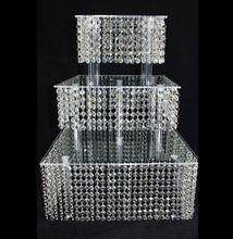 5sets/lot 3 Tier Crystal Cake Stand Square Acrylic Cupcake stand Christmas Wedding Anniversary Birthday  Party Display Tools