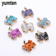 Yumten Crystal Pendant Elephant Charms Gold Plated Natural The Geode Clusters Buds Ribbon Necklace Jewelry Ouro 18k Verdadeiro