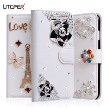 "Coque For Umi London Case 5.0"" Flower Rhinestone Glitter Wallet PU Leather Cover Cross Bowknot Fundas Soft Plastic Case Para(China)"