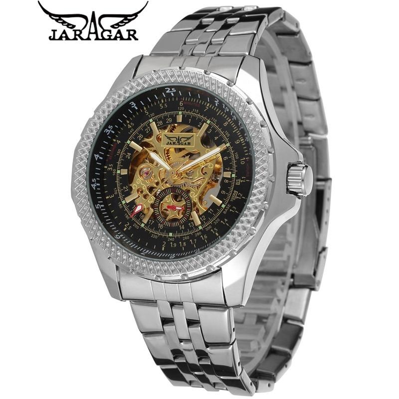 JARAGAR Luxury Relogio Masculino Mens Skeleton Automatic Mechanical Watches Wristwatches Gift Box Free Ship<br><br>Aliexpress
