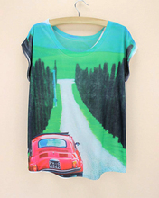 green forest road red bus blue mountain women's t shirt big size low price new arrival women tops 2015 good qulaity harajuku(China)