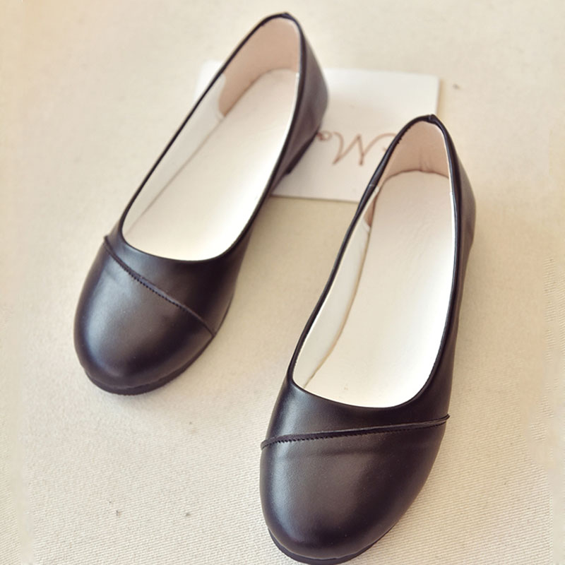 AD AcolorDay 2017 Hot Sale Mother Style Boat Shoes Round Toe Solid Slip on Women Shoes Casual Black White Leather Ladies Shoes<br><br>Aliexpress