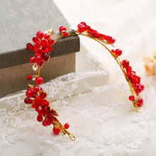 The new hot - selling hand - festive red flowers headdress wedding accessories dress head with bridal jewelryHL1524(China)