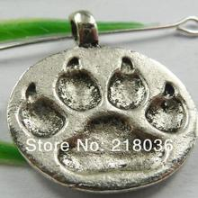 Antiques Silver/Bronze Collar Tag Pet Dog Paw Prints Charms Pendants For Bracelet Necklace Jewelry Beads Making DIY 10PCS M2623