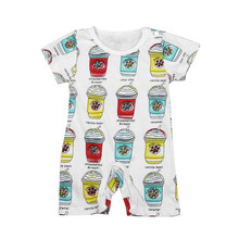 baby clothing set cartoon Baby Boys Girls Occident Short Sleeve ice cream Print Romper for ages in 0-2 years old 17Dec13(China)