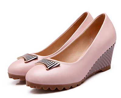 2015 Spring Sweet Candy Color Stripe Wedges Bow High-Heel Shoes For Women Slip-On Round Toe Low-Top Casual Comfortable Pumps<br><br>Aliexpress