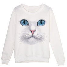 Cute Cat Female Printed Sweater Cool Kitten Face Pattern Cute Casual Spring Autumn Clothes
