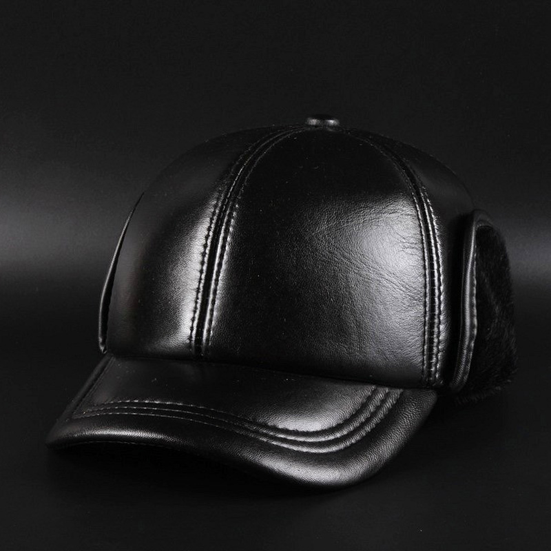 Svadlifari Wholesale Winter 2017 High Quality Sheepskin Hat Genuine Leather Hats Baseball Cap For Men Woman Black Caps Warm<br>