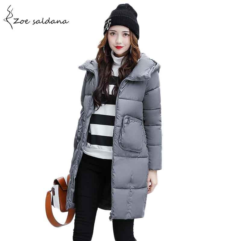 Zoe Saldana 2017 Winter Coat Womens Hooded Warm Slim Parka Pockets Cotton Wadded Coat Female Winter Jacket Îäåæäà è àêñåññóàðû<br><br>