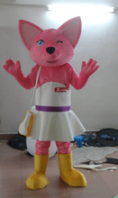 Pink Fox Mascot Costume  Fancy Dress Cartoon Character