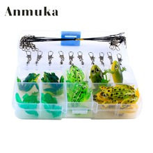 Anmuka Frog set Soft Toad Frogs with Hook Bass Fishing Lure Soft Plastic Fishing Lure Single Hook Wholesale