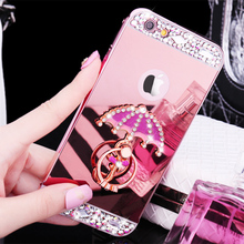 Luxury Metal Aluminium Diamond Case For Touch 5 6 Mirror Phone Case For iPhone 4 4s 5 5c 5s se 6 6s 7 7 plus Ring Holder Cover(China)