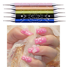 5pcs/set Double Head Nail Art Dotting Pen Tools Set Nail Polish Aluminum Painting Marbleizing Dot Tool Nail Diamond Stud DIY Kit