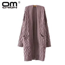 OMCHION Winter 2017 Autumn New V Neck Long Cardigan Twist Casual Loose Sweater Women Oversized Poncho Knitted Wear Jumper LS28(China)
