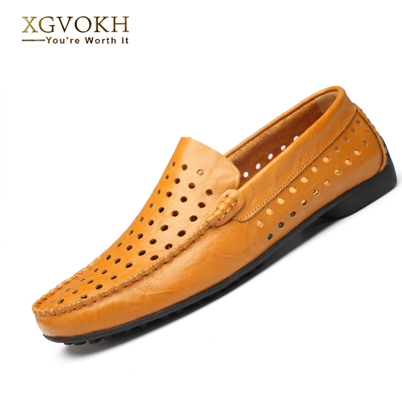 Driving Moccasins Leather Shoes British hollow Mens Slip On Loafers Summer style Light flats Men Shoes Casual Comfy Breathable<br>