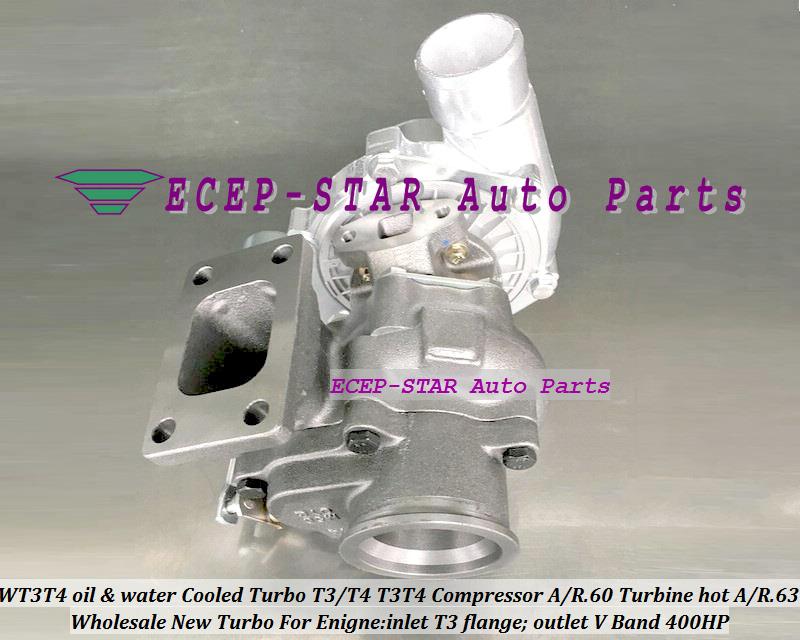 WT3T4 oil Cooled Turbo T3T4 T3T4 Internal Wastegate;Compressor AR .60 Turbine hot AR.63 inlet T3 flange;outlet V Band 400HP (5)