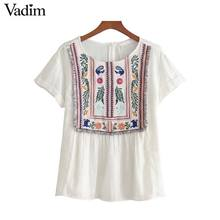 Vadim women vintage floral embroidery tassel shirts o neck short sleeve blouse white ladies casual brand tops blusas DT1285