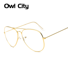 Owl City Fashion Women Gold Glasses Frames Men Brand Titanium Eyeglass Frame Eyewear Silver Black Shield Frame With Glasses
