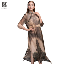 Outline Original Brand Loose Dress Vintage Retro Chinese Style Printing Dress Plus Size Clothes Women Long Dress L153Y004