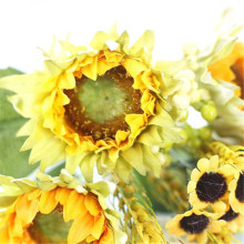 5 Heads Beauty Fake Sunflower Artificial Silk Fake Flower Bouquet Home Floral Decor U70306 flores artificiais