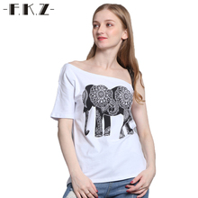 FKZ Summer T shirt Women Elephant Printed Short Sleeve Cotton Russia Print Tshirt Hollow Out T-shirt Woman Clothes Big Size