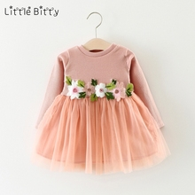 Little Bitty Fashion 2017  Autumn New Girls Cotton Long-sleeved Knitting Dress Thickening Baby Girl Princess Dress Winter