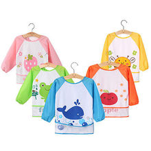 Kid Baby Boy Girl Toddler Waterproof Long Sleeve Bib Cartoon Feeding Smock Apron(China)