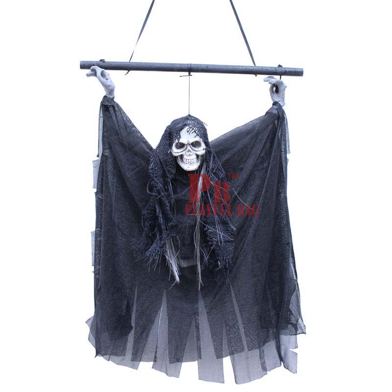 Halloween ghost ghost bat decorative hanging tricky audible sound induction skull small Hanging Ghost(China)