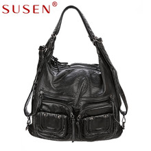 SUSEN multi function handbags luxury hobos shoulder bags designer for women retro red high quality washed PU leather 866