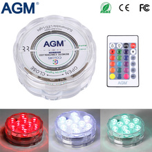 AGM LED Submersible Light Decoration Candle Floral Tea Lamp Waterproof 10LED RGB Remote Flashing Underwater Lights For Christmas(China)