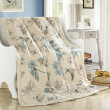 American style pastoral birds printing 100% Cotton summer comforter twin queen size quilted Quilt thin Throw nap blanket/plaids