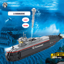 Large A-submarine Warship Light Sound Building Toy Blocks 850pcs Military Army Models Building Toy Bricks Compatible with