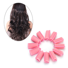 12pcs/set Soft Magic Sponge Foam Cushion Hair Rolls Styling Pink Curly Hair Cream Design Salon or Home Hairdresser Tool(China)