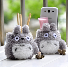 1X Super Kawaii 9*7CM TOTORO Plush TOY Cover DOLL , Stand Holder Pouch Case RACK DOLL , School Desk Pen Pencil Holder BOX(China)