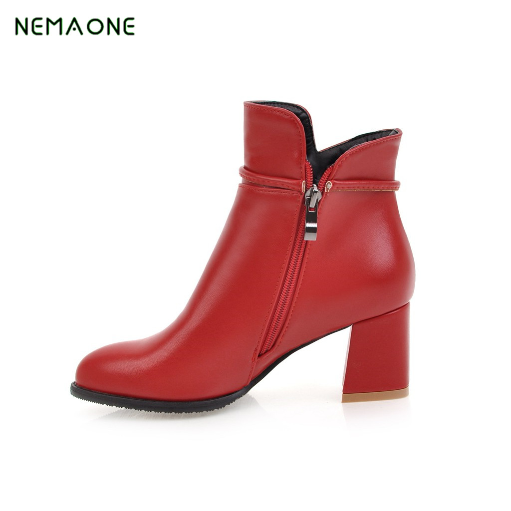 NEMAONE 2017 Fashion Motorcycle Ankle Boots Female slip on med Heels Platform Comfortable Spring Autumn Shoes<br>