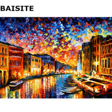 BAISITE DIY Oil Painting By Numbers Hand Painted Canvas Modern Abstract Home Decor For Living Room Wall Art H320 40*50cm(China)