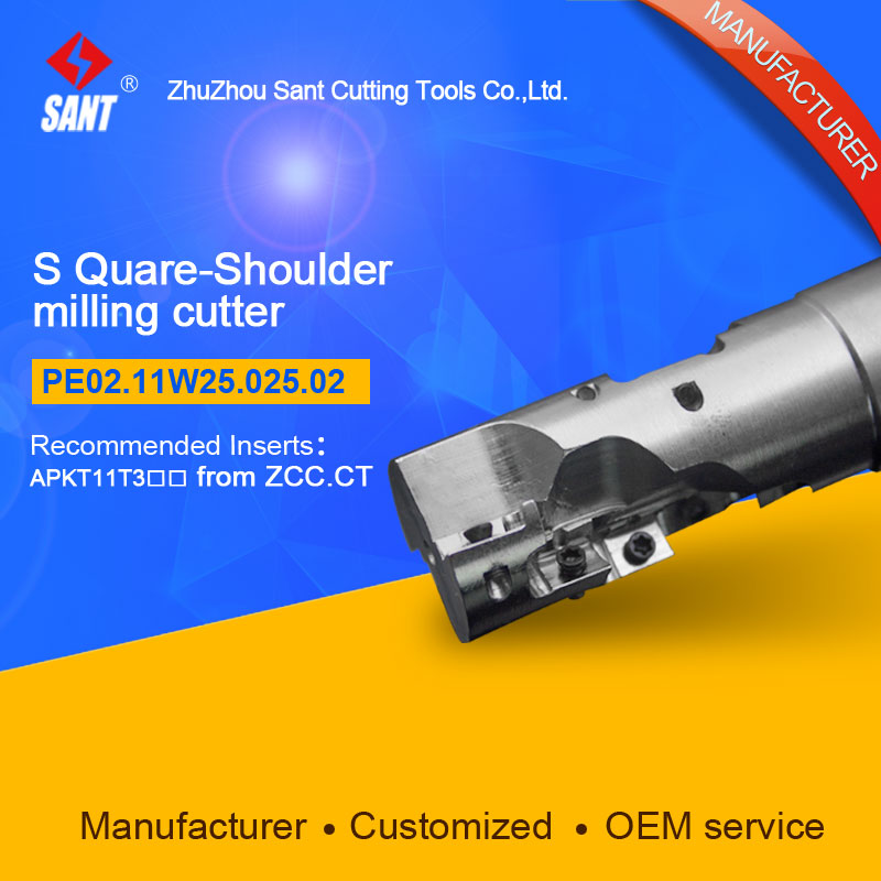 EMP04-025-XP25-AP11-02 Indexable Milling cutter SANT PE02.11W25.025.02 with APKT11T3 carbide insert for Walter<br>