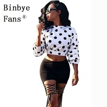 Binbye Fans Polka Dots Blouses Long Sleeve Shirts Women Tops Fall Clothes O-Neck Sexy White Blusas Streetwear CH235(China)