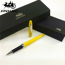 1pc/lot JINHAO 885 Roller Ball Pen Yellow Pens Silver Clip Rhinestones Accessories Material Escolar Canetas Kawaii 13.6*1.2cm(China)