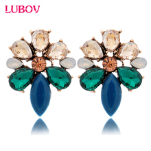 2016 New Vintage Punk Style Fashion Flower Stud Earrings Golden Crystal Diamante Women Earrings Gifts for Girls(China)