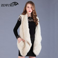 ZDFURS *winter new Knitted  hand made Rabbit fur vests gilet sleeveless  Double-sided Knit Fur Waistcoat Women ZDKR-165010