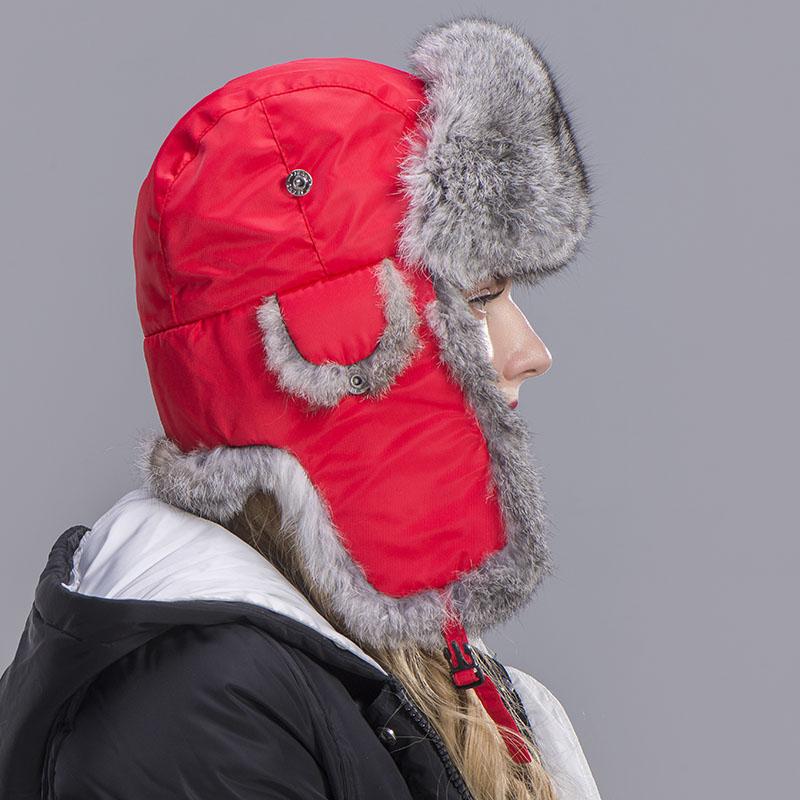 rabbit fur hat women red 1