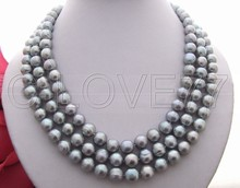 3 strands 10MM Grey Pearl Necklace free shipment