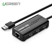 Ugreen USB 2.0 to 10/100 Mbps RJ45 Lan Network Ethernet Adapter Card + 3 Port USB Hub for Mac OS Tablet pc Laptop Smart TV
