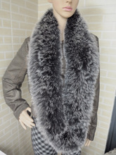 Braid Genuine fox fur circle scarf wrap cape black with white tips(China)