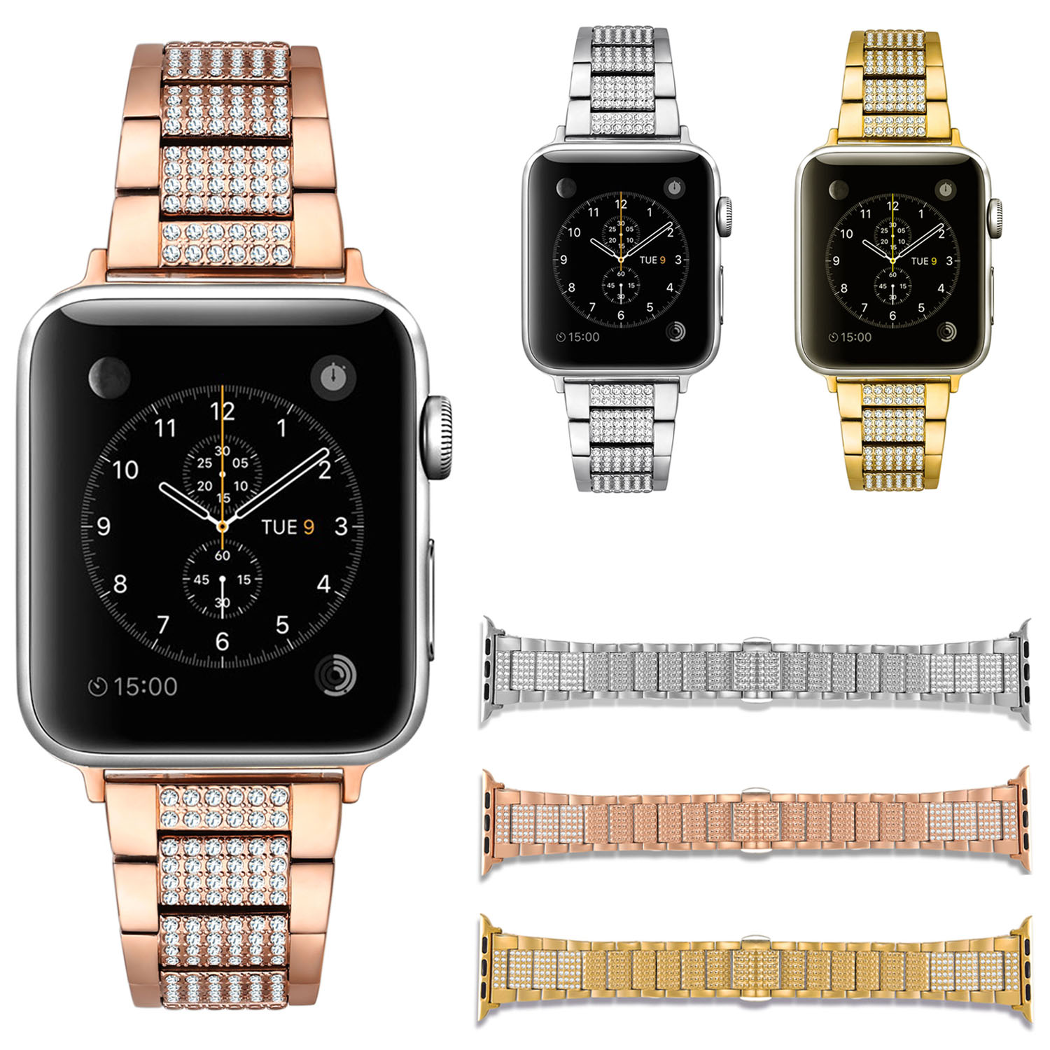 Bling Rhinestone Bracelet for Apple Watch Series 3 Band Diamond Stainless Steel Strap for iWatch Series 1/2 Watchbands 38mm 42mm<br>