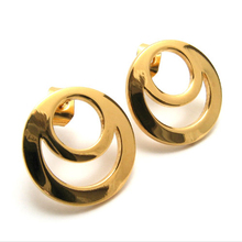 Hot Selling Top Quality Ear Studs 15mm Round Shape Classic Stainless Steel Stud Earring 18K Gold Plated E002